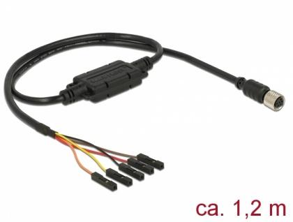 Anschlusskabel M8 Buchse Seriell wasserdicht > 5 Pin Pfostenbuchse, Rastermaß 2, 54 mm LVTTL (3, 3 V) 1, 2 m, Delock® [62939]