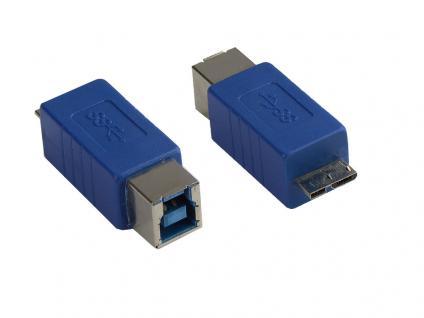 kabelmeister® Adapter USB 3.0 Typ B Kupplung auf Typ B Micro Stecker, blau