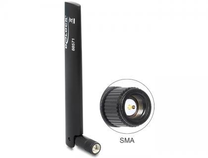 LTE Antenne SMA -0, 8 ~ 3, 0 dBi omnidirektional mit Kippgelenk, schwarz, Delock® [88571]