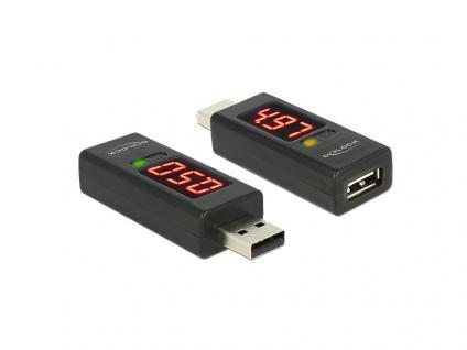 Adapter USB 2.0 A Stecker an A Buchse mit LED Anzeige für Volt und Ampere, Delock® [65569]
