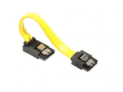 kabelmeister® Anschlusskabel SATA 6 Gb/s, mit Arretierung, nach oben abgewinkelt, 0, 5m, gelb
