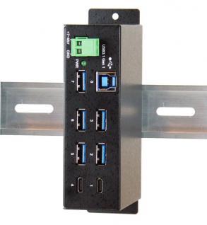 7 Port USB 3.0/ 3.1 (Gen.1) Metall HUB mit 2x Buchse C und 5x Buchse A, Upstream Buchse B, Surge Protection, Exsys® [EX-1197HMS]