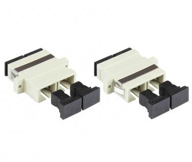 kabelmeister® LWL Duplex Kupplung, SC (UPC) an SC (UPC), OM2, Multimode, Kunststoffgehäuse mit Flansch, Keramikhülse, grau