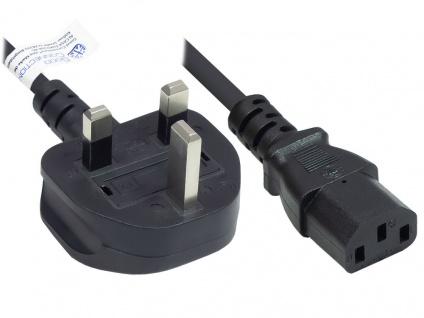 Netzkabel England/UK Netz-Stecker Typ G (BS 1363) an C13 (gerade), 10A, ASTA, schwarz, 0, 75 mm², 1, 8 m, Good Connections®