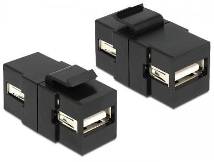 Keystone Modul USB 2.0 A Buchse an USB 2.0 A Buchse schwarz, Delock® [86367]
