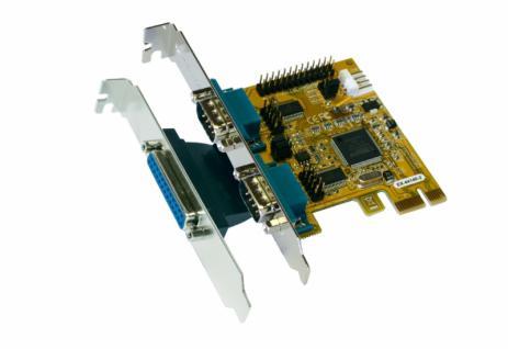 Schnittstellenkarte, PCI-Express 2S Seriell RS-232 / 1P Parallel EPP/ECP Multi I/O Karte, MosChip Chip-Set