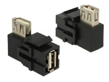 Keystone Modul, USB 2.0 Buchse A an USB2.0 Buchse A 90____deg; gewinkelt, schwarz, Delock® [86354]