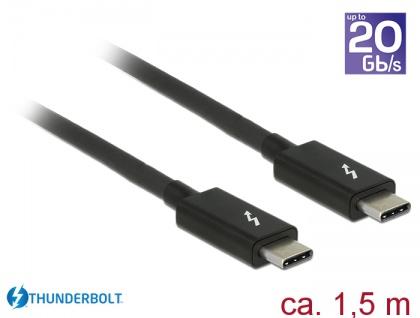 Thunderbolt 3 (20 Gb/s) USB-C™ Kabel Stecker an Stecker, passiv, 5A, schwarz, 1, 5m, Delock® [84846]