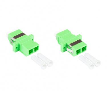 kabelmeister® LWL Duplex Kupplung, LC (APC) an LC (APC), OS2, Singlemode, Kunststoffgehäuse mit Flansch, Keramikhülse, grün