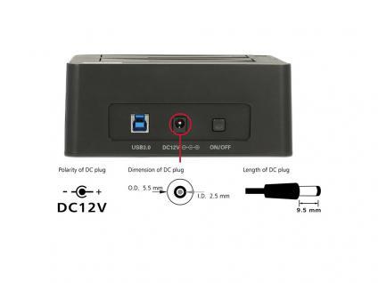 Dual Dockingstation SATA HDD an USB 3.0 mit Klon Funktion, Delock® [62661]
