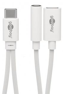 Audio-Adapterkabel USB-C™ Stecker an 3, 5mm Klinkenbuchse (3-pol) + USB-C™ Buchse (Ladeanschluss), weiß, 0, 1m