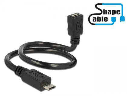 Kabel USB 2.0 Micro-B Stecker an USB 2.0 Micro-B Buchse OTG ShapeCable 0, 35m, Delock® [83924]