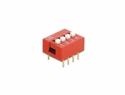 DIP-Schiebeschalter 4-stellig 2, 54 mm Rastermaß THT vertikal rot 10 Stück, Delock® [66030]