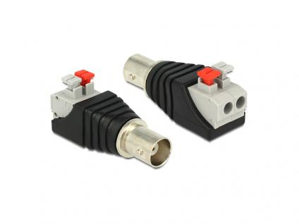 Adapter BNC Buchse an Terminalblock mit Drucktasten 2 Pin, Delock® [65526]