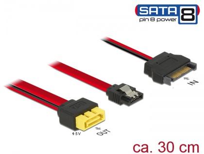 Kabel SATA 6 Gb/s 7 Pin Buchse + SATA 15 Pin Strom Stecker an SATA Stecker Pin 8 Power mit Einrastfunktion 0, 3 m, Delock® [84945]