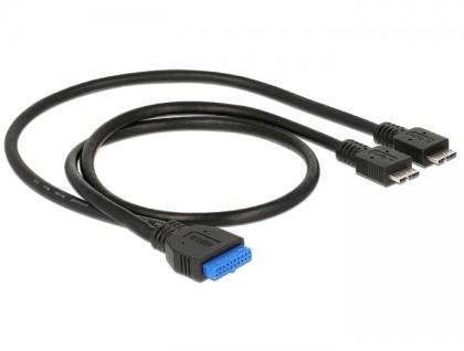 Kabel USB 3.0 Pfostenbuchse an 2 x USB 3.0 Micro-B Stecker 40 / 60 cm, Delock® [83828] - Vorschau
