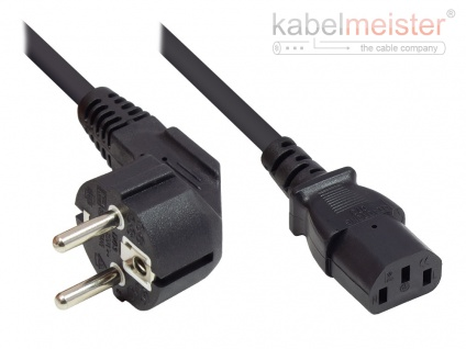 kabelmeister® Netzkabel Schutzkontakt-Stecker Typ E+F (CEE 7/7, gewinkelt) an C13 (gerade), schwarz, 1, 00 mm², 2, 5 m