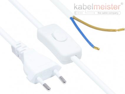 kabelmeister® Euro-Netzkabel Euro-Stecker Typ C (gerade) an abisolierte Enden, mit Schalter, weiß, 0, 75 mm², 1, 5 m