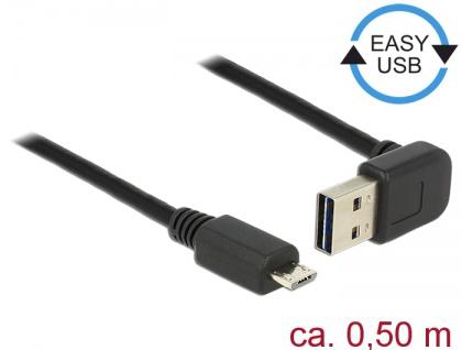 Kabel EASY-USB 2.0 Typ-A Stecker gewinkelt oben / unten an USB 2.0 Typ Micro-B Stecker, schwarz, 0, 5 m, Delock® [85203]