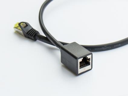 kabelmeister® RJ45 Patchkabelverlängerung mit Cat. 7 Rohkabel und Rastnasenschutz (RNS®), S/FTP, PiMF, halogenfrei, 500MHz, OFC, schwarz, 1m
