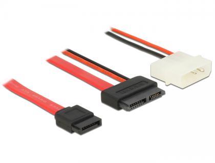 Kabel Slim SATA Buchse an SATA 7 Pin + 2 Pin Strom Stecker 100 cm, Delock® [84792]