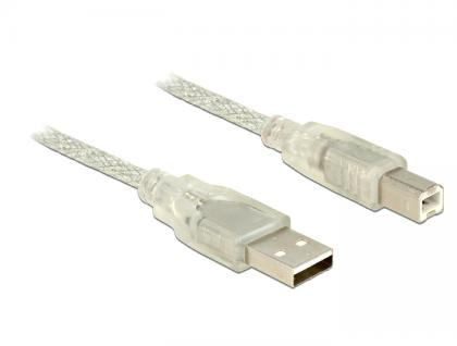 Anschlusskabel USB 2.0 A Stecker an USB 2.0 B Stecker, transparent, 5m, Delock® [83896]