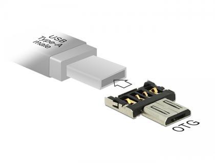 Adapter OTG USB Micro-B Stecker für USB Typ-A Stecker, Delock® [65681]