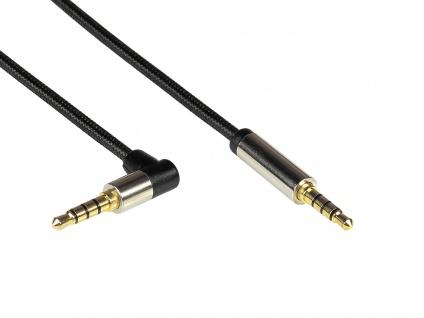 Audio Anschlusskabel High-Quality, 4-poliger 3, 5mm Klinkenstecker an Klinkenstecker gewinkelt, Textilmantel, schwarz, 0, 5m, PYTHON® Series