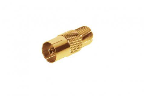 kabelmeister® SAT-Adapter Koax Buchse auf F-Buchse, vergoldet
