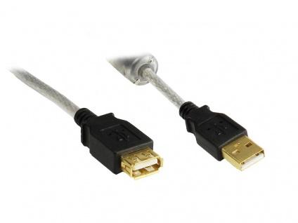 kabelmeister® Verlängerung USB 2.0 High Quality mit Ferritkern und Goldkontakten, transparent, 1, 8m