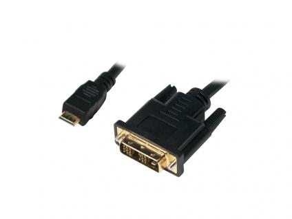 Mini-HDMI auf DVI-D Kabel, Stecker an Stecker, schwarz, 0, 5m, LogiLink® [CHM001]