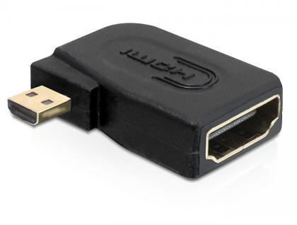 Adapter, High Speed HDMI micro D Stecker an A Buchse, seitlich gewinkelt, Delock® [65352]