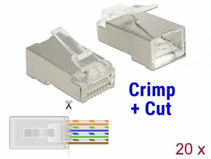 RJ45 Crimp+Cut Stecker Cat.6 STP 20 Stück, Delock® [86454]
