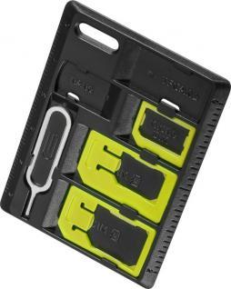 SIM-Kartenadapter Organizer Set für Nano SIM, Micro SIM und SIM-Format mit einfacher 'Click-in' Verrieglungsfunktion