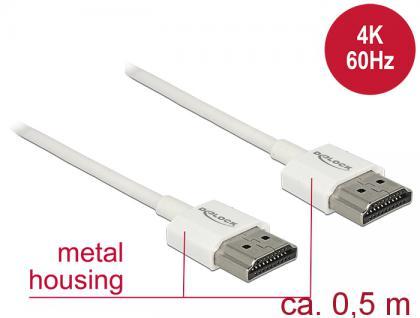 Kabel High Speed HDMI mit Ethernet, Stecker A an Stecker A, 3D, 4K, Slim High Quality, weiß, 0, 5m, Delock® [85121]