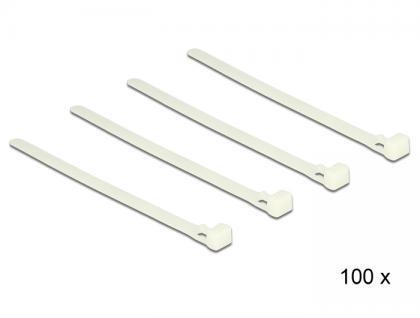 Kabelbinder lösbar weiß L 150 x B 7, 2 mm 100 Stück, Delock® [18638]