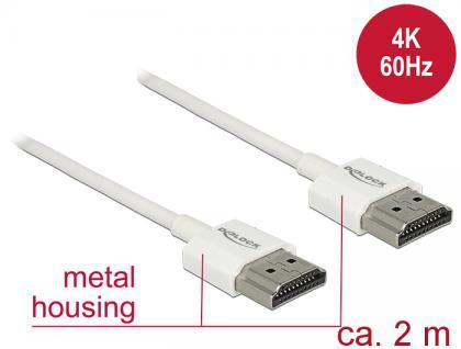 Kabel High Speed HDMI mit Ethernet, Stecker A an Stecker A, 3D, 4K, Slim High Quality, weiß, 2m, Delock® [85137] - Vorschau