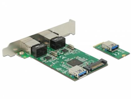 Konverter M.2 Key B+M Stecker > 2 x Gigabit LAN - Low Profile Formfaktor, Delock® [63425]