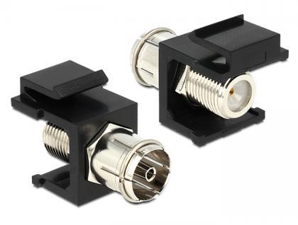 Keystone Modul IEC Buchse an F Buchse schwarz, Delock® [86352]