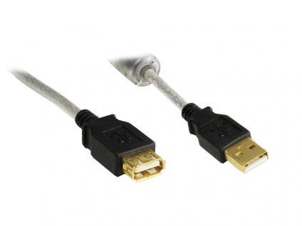 kabelmeister® Verlängerung USB 2.0 High Quality mit Ferritkern und Goldkontakten, transparent, 3m