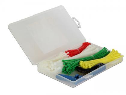 Kabelbinder Sortimentsbox 350-teilig farbig mit Zange, Delock® [18633]