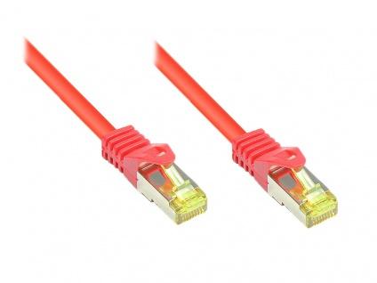 RJ45 Patchkabel mit Cat. 7 Rohkabel und Rastnasenschutz (RNS®), S/FTP, PiMF, halogenfrei, 500MHz, OFC, rot, 2m, Good Connections®