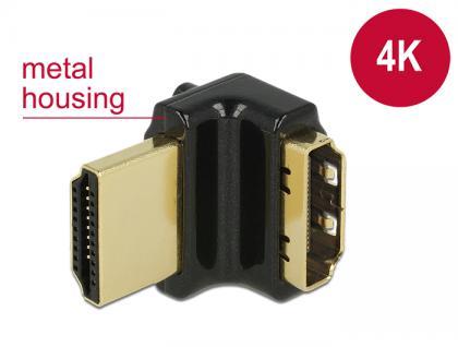 Adapter High Speed HDMI mit Ethernet - HDMI-A Buchse an HDMI-A Stecker 4K 90____deg; gewinkelt oben schwarz, Delock® [65663]