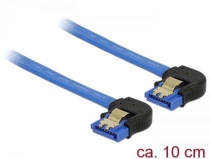 Kabel SATA 6 Gb/s Buchse unten gewinkelt an SATA Buchse unten gewinkelt, mit Goldclips, blau, 0, 1m, Delock® [85094]