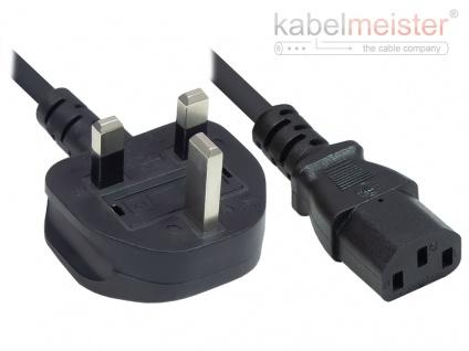 kabelmeister® Netzkabel England/UK Netz-Stecker Typ G (BS 1363) an C13 (gerade), 10A, ASTA, schwarz, 0, 75 mm², 1, 8 m