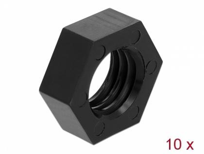 GNSS Mutter Nylon 15, 875mm (5/8-11 UNC), 10 Stück, schwarz, Navilock® [12669]