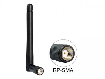 WLAN 802.11 b/g/n Antenne RP-SMA 2 dBi omnidirektional Kippgelenk, Delock® [88339]