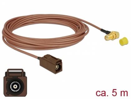 Antennenkabel FAKRA F Buchse an SMA 90____deg; Buchse zum Einbau RG-316, 5 m, Delock® [89683]