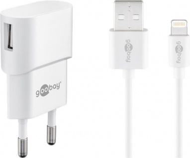 USB-Ladegerät, 1 Port, 1A, inkl. Anschlusskabel Apple Lightning Connector an USB A Stecker, weiß, 1m