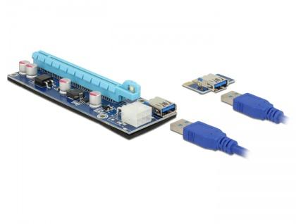 Riser Karte PCI Express x1 > x16 mit 60 cm USB Kabel, Delock® [41426]